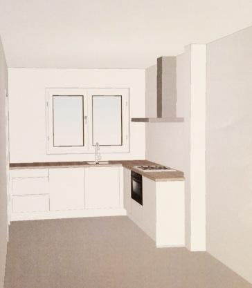 Keuken, mat met betonlook blad